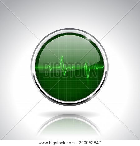 Electrocardiogram sign. Green round 3d icon with chrome frame. Vector illustration on gray background