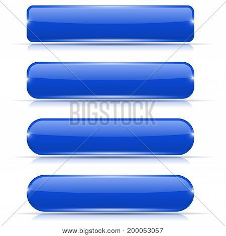Blue glass buttons. Set of long rectangular web interface icons. Vector illustration isolated on white background