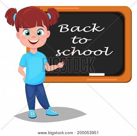 Back to school. Cute girl standing near blackboard. Pretty little schoolgirl. Cheerful cartoon character. Vector illustration