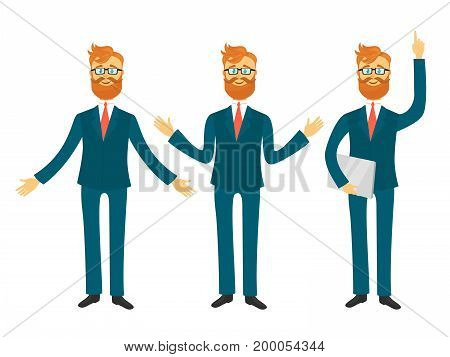 Young businessman with red hair and glasses, in blue business suit in different poses for business presentation isolated on white background.Successful man shows and tells vector illustration