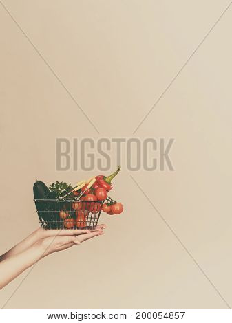 Lose weight buying healthy food vegetarian products. Hand holding shopping basket with vegetables on grey