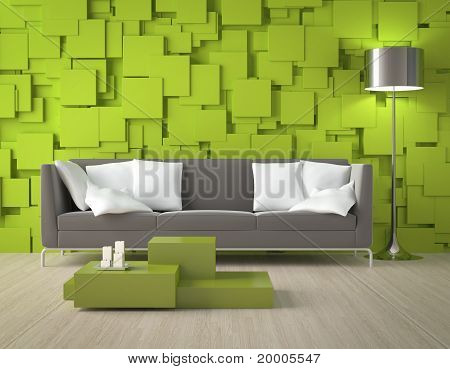 Green Blocks Wall And Furniture
