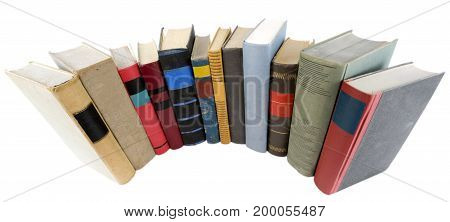 Stack of many old book isolated on white