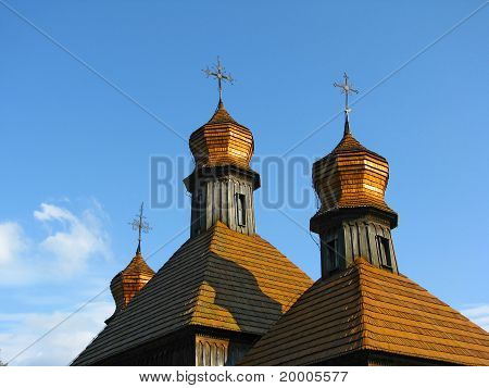 cupolas of old wooden church in Pirogovo museum