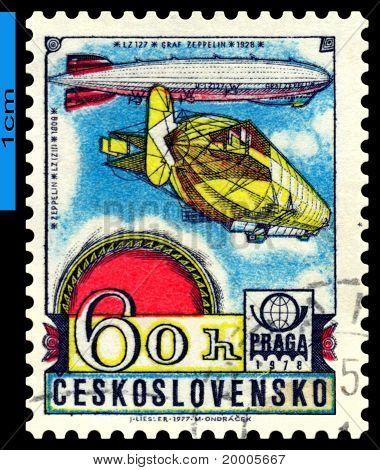 Vintage Postage Stamp. Graf Zeppelin. Airship Lz-127.