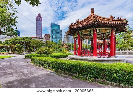 Traditional Chinese architecture in 228 park in Taipei