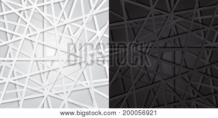 Abstract black and white lines futuristic overlap background. Vector illustration digital connection