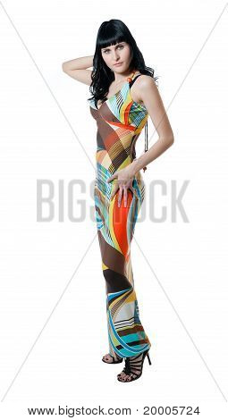 Girl In Abstract Colored Dress