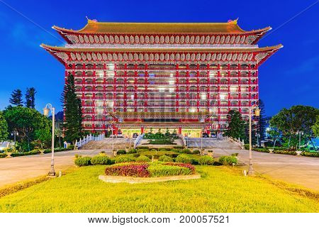 TAIPEI TAIWAN - JUNE 11: This is the Grand hotel a famous luxury hotel which was built by Chiang Kai-Shek it is renowned as an iconic example of historic Chinese architecture June 11 2017 in Taipei