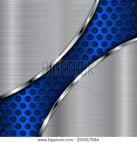 Metal background with blue diagonal perforation. Abstract stainless steel template. Vector 3d illustration