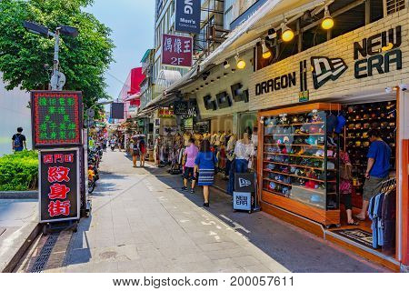 TAIPEI TAIWAN - JUNE 09: This is a side street in the Ximen shopping and entertainment district of Taipei where many tourists and local come at night June 09 2017 in Taipei