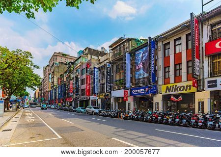 TAIPEI TAIWAN - JUNE 09: This is the camera street where people come to shop for many different kinds of cameras and acessories with a variety of different brands and shops on June 09 2017 in Taipei