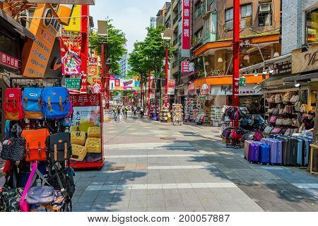 TAIPEI TAIWAN - JUNE 09: This is a shopping street in the Ximen district which is a popular shopping and nightlife area with both tourists and locals June 09 2017 in Taipei