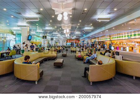 TAIPEI TAIWAN - JUNE 09: This is a the lounge area of Songshan airport an airport close to the downtown area of Taipei on June 09 2017 in Taipei