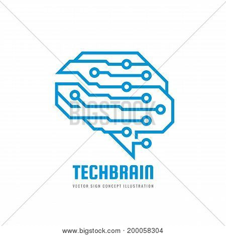 Abstract human brain - business vector logo template concept illustration. Creative idea sign. Infographic symbol. Design element.