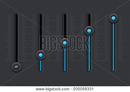 Black equalizer with blue slider buttons. Vector illustration