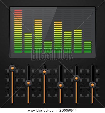Sound equalizer with black vertical sliders. Vector illustration