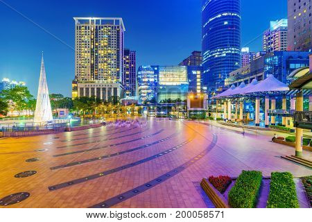 TAIPEI TAIWAN - JUNE 08: This is a view of the Banqiao citizen square in New Taipei where you can see many high rise buildings and shopping malls on June 08 2017 in Taipei
