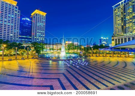 TAIPEI TAIWAN - JUNE 08: This is a view of the Banqiao financial district architecture in the New Taipei area of the city where you can see many modern office buildings on June 08 2017 in Taipei