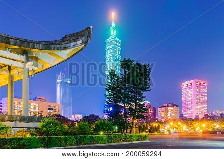 TAIPEI TAIWAN - APRIL 20: This is a view of the Taipei 101 building which is a famous landmark building taken from Sun Yat-Sen memorial hall on April 20 2017 in Taipei