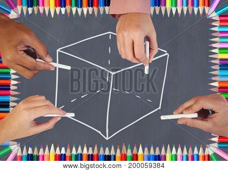 Digital composite of Hands drawing cube on blackboard with coloring pencils