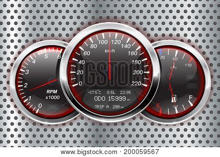 Speedometer, tachometer, fuel and temperature gauge. Vector illustration on metal background