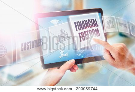 A Businesswoman Selecting A Financial Freedom Business Concept On A Futuristic Portable Computer Scr