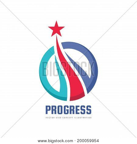 Progress - abstract vector logo. Design elements with star sign. Development symbol. Sucess icon. Growth and start-up concept illustration.