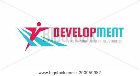 Development - vector logo template concept illustration. Human character. Abstract man figure. People sign. Fitness sport. Design element.