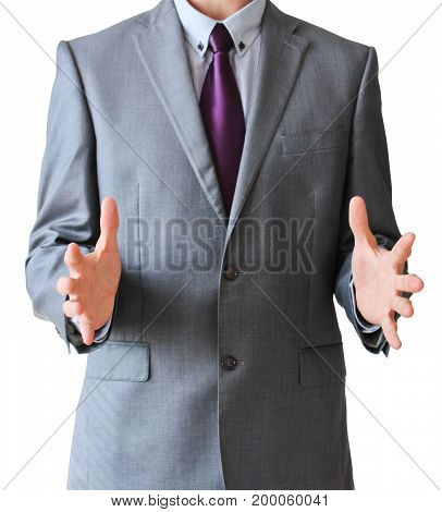 Business Man With Free Space Between Hands, Isolated On White Background