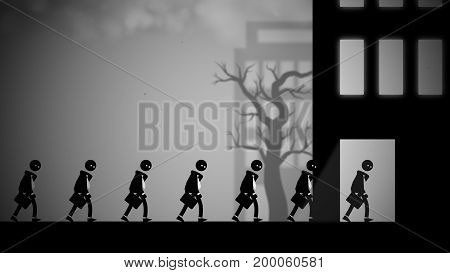 Depressed white-collar workers marching to their daily office jobs. Conceptual illustration with a dark, dystopian feel