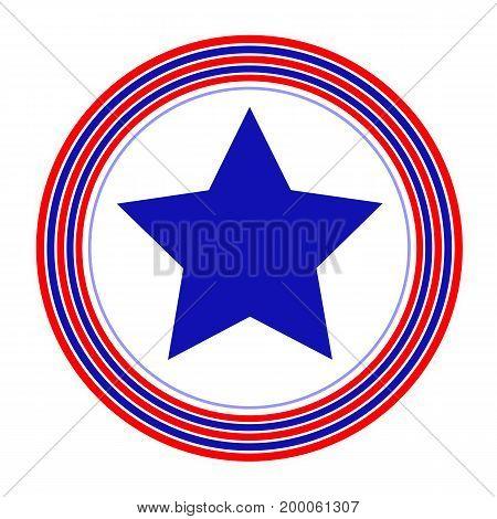American symbol blue star rings simple flat design