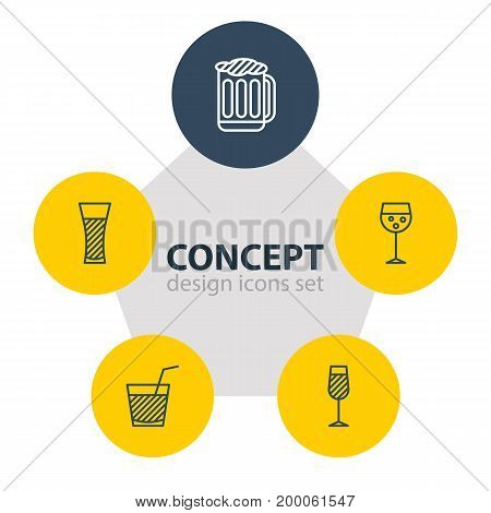 Editable Pack Of Draught, Champagne, Drink And Other Elements.  Vector Illustration Of 5 Beverage Icons.