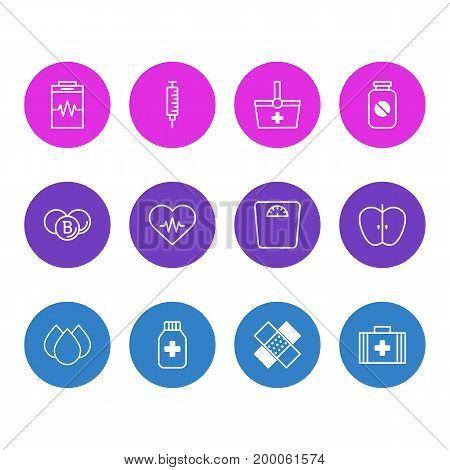 Editable Pack Of Vaccinator, Medicine Jar, Heart Rhythm And Other Elements.  Vector Illustration Of 12 Medicine Icons.