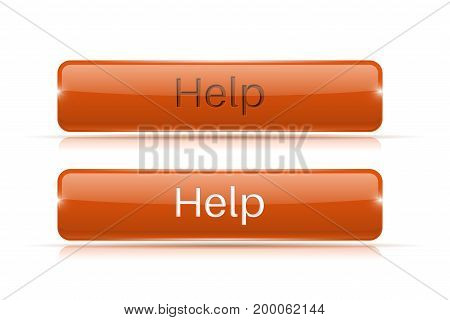 Help button. Orange 3d icon. Normal and active. Vector illustration isolated on white background