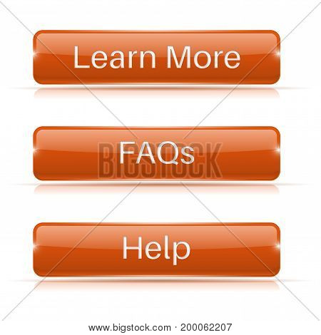 FAQs, Learn More, Help buttons. Orange 3d icons. Vector illustration isolated on white background