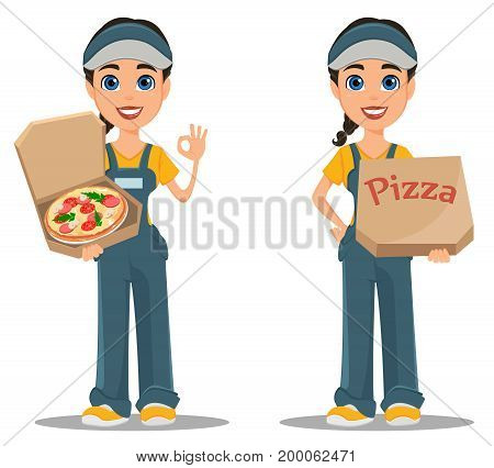 Courier woman delivering pizza. Set. Professional fast delivery. Cute cartoon character. Vector illustration.