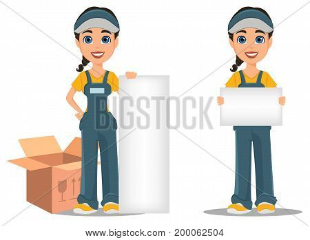 Courier woman holding placard and standing near placard. Set. Professional fast delivery. Cute cartoon character. Vector illustration.