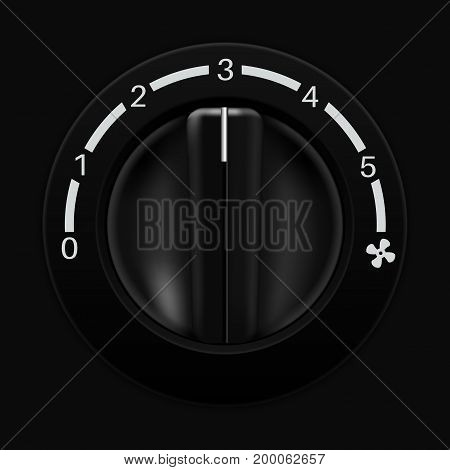 Fan speed selector. Car dashboard black switch. Vector illustration