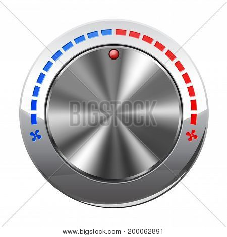 Air temperature selector. Car dashboard chrome switch. Vector illustration