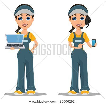 Courier woman with headset accepts an order holding smartphone and standing with laptop. Professional fast delivery. Cute cartoon character. Vector illustration.