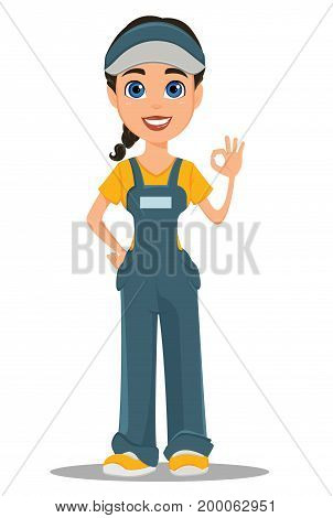 Courier woman smiling and showing ok sign. Professional fast delivery. Cute cartoon character. Vector illustration.