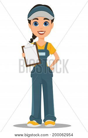 Courier woman holding blank clipboard. Professional fast delivery. Cute cartoon character. Vector illustration.