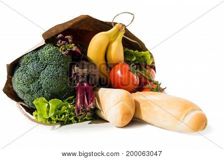 Healthy Food In Grocery Bag