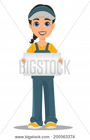 Courier woman holding blank placard. Professional fast delivery. Cute cartoon character. Vector illustration.