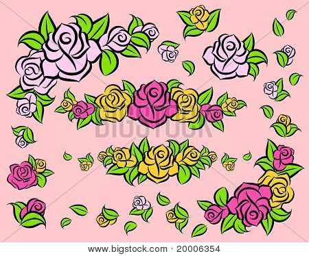 Background with beautiful roses. Vector