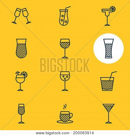 Editable Pack Of Drink, Glass, Juice And Other Elements.  Vector Illustration Of 12 Drinks Icons.