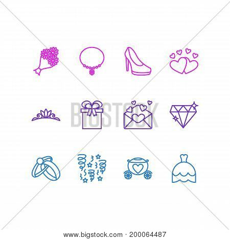 Editable Pack Of Love, Decoration, Brilliant And Other Elements.  Vector Illustration Of 12 Engagement Icons.