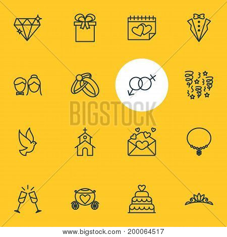 Editable Pack Of Sexuality Symbol, Calendar, Jewelry And Other Elements.  Vector Illustration Of 16 Wedding Icons.