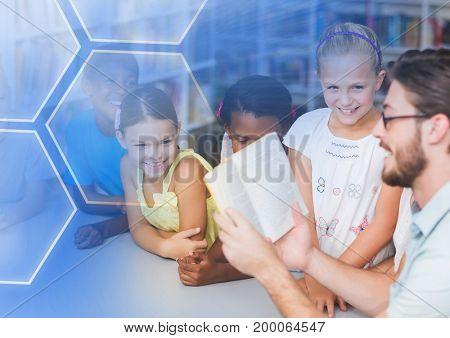 Digital composite of Elementary school teacher with class